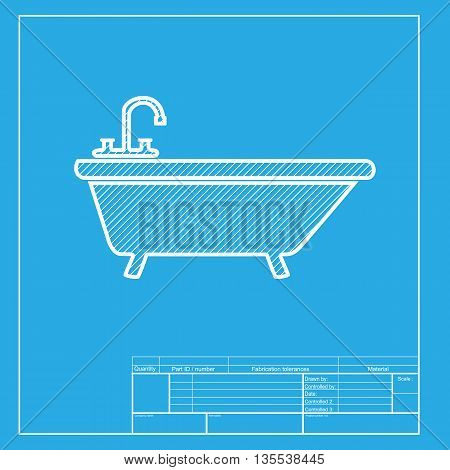 Bathtub sign illustration. White section of icon on blueprint template.
