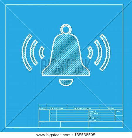 Ringing bell icon. White section of icon on blueprint template.