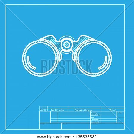Binocular sign illustration. White section of icon on blueprint template.