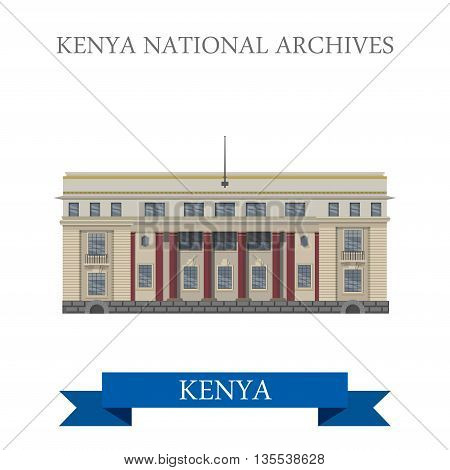 Kenya National Archives flat cartoon style vector illustration