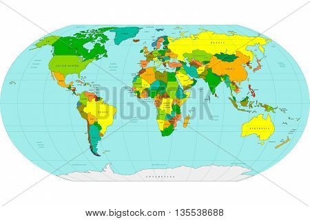 Highly Detailed World Map. Vector Illustration.