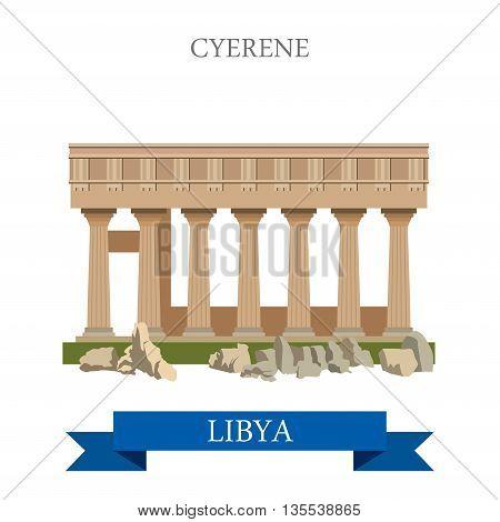 Cyrene in Libya. Flat cartoon style web site vector illustration