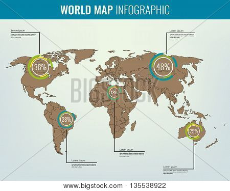 World Map With Infographic Elements. All Countries Are Selectable. Vector