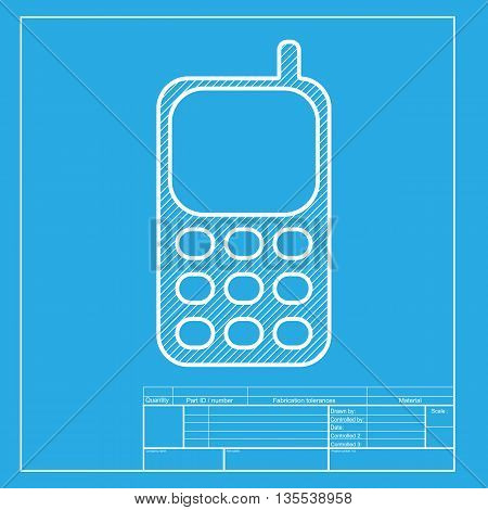 Cell Phone sign. White section of icon on blueprint template.