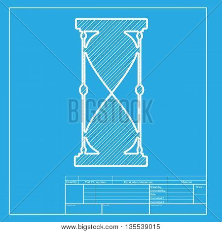 Hourglass sign illustration. White section of icon on blueprint template.