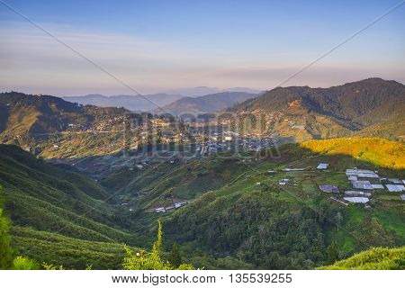 Beautiful sunrise over layer hill at Kundasang Sabah