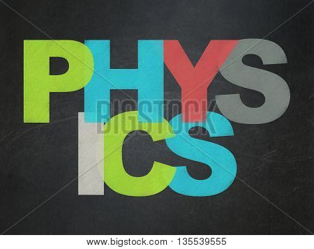 Education concept: Painted multicolor text Physics on School board background, School Board