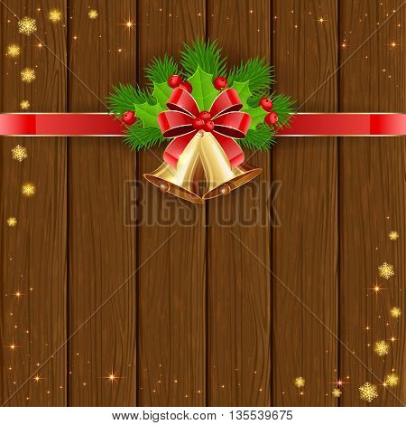 Christmas decorations on wooden background with golden bells, red bow, holly berries, stars and snowflakes, illustration.