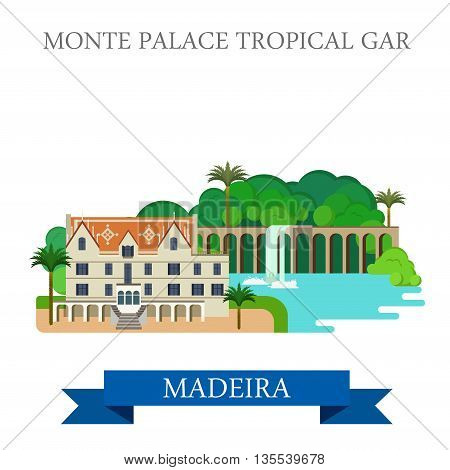 Monte Palace Tropical Garden in Madeira Flat vector illustration