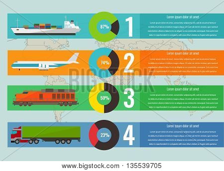 Transportation Logistics Concept With Infographics Elements. Vector