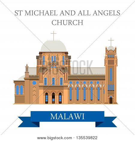 St Michael and All Angels Church in Blantyre Malawi Flat vector