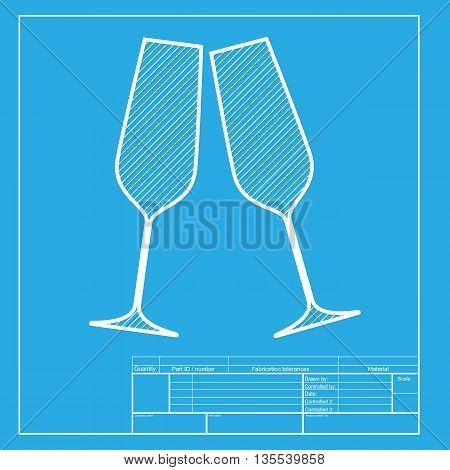 Sparkling champagne glasses. White section of icon on blueprint template.