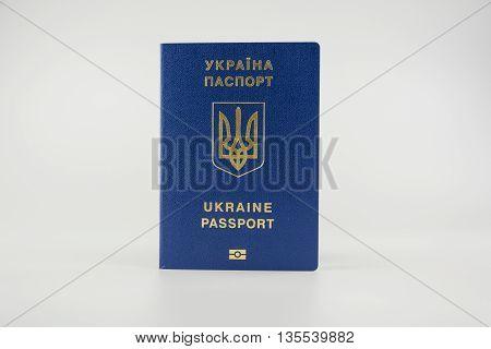 Ukrainian passport isolated on a white background
