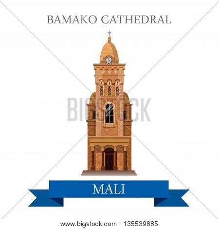 Bamako Cathedral in Mali Flat historic vector illustration