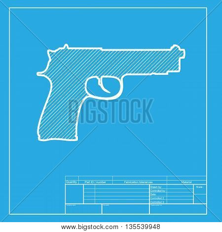 Gun sign illustration. White section of icon on blueprint template.