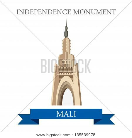 Bamako Independence Monument in Mali. Flat vector illustration