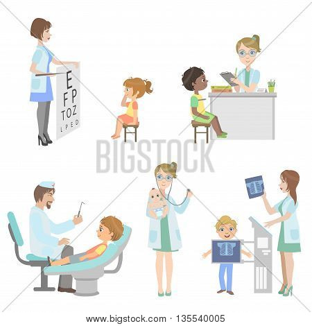 Kids On Medical Checkup Set Of Simple Design Illustrations In Cute Fun Cartoon Style Isolated On White Background