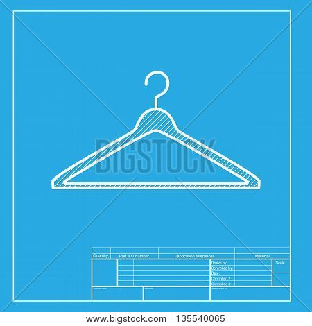 Hanger sign illustration. White section of icon on blueprint template.