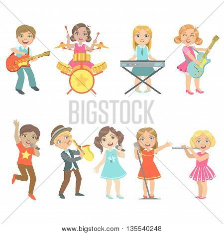 Kid Singing And Playing Music Instruments Set Of Cute Big-eyed Characters Flat Vector Isolated Illustrations On White Background