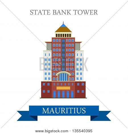 State Bank Tower in Mauritius. Flat cartoon vector illustration
