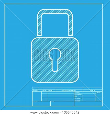 Lock sign illustration. White section of icon on blueprint template.