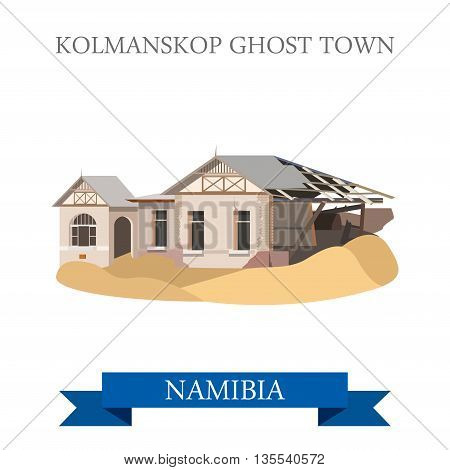 Kolmanskop Ghost Town in Namibia. Flat vector illustration