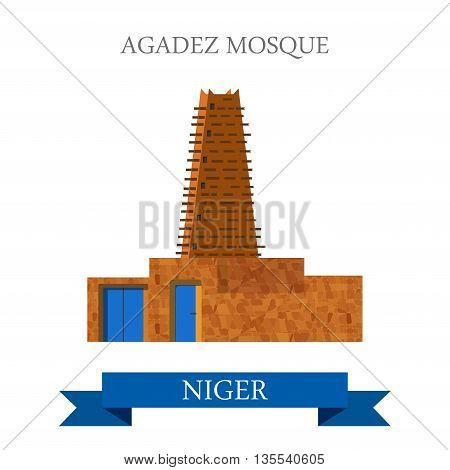 Agadez Mosque in Niger. Flat cartoon site vector illustration