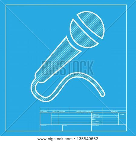 Microphone sign illustration. White section of icon on blueprint template.