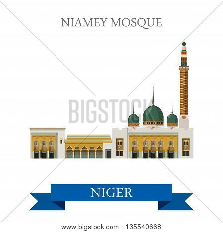 Niamey Mosque in Niger Flat cartoon historic vector illustration