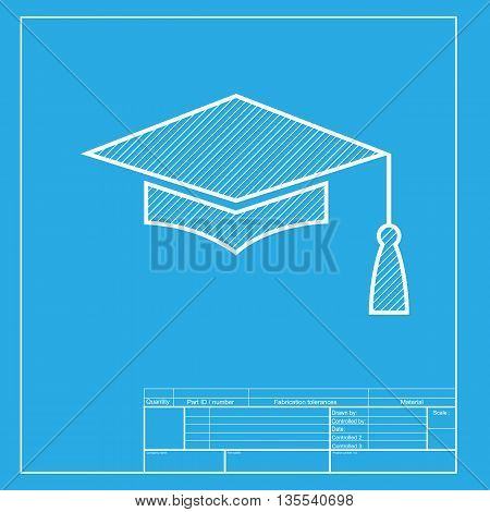 Mortar Board or Graduation Cap, Education symbol. White section of icon on blueprint template.
