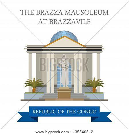 The Brazza Mausoleum in Republic of Congo vector illustration
