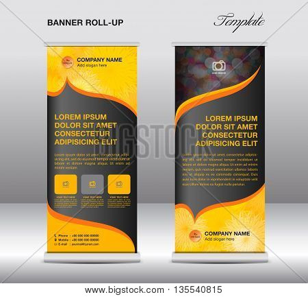 Yellow Roll up banner stand template vintage banner for business
