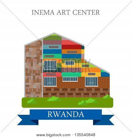 Inema Art Center in Rwanda Flat historic vector illustration
