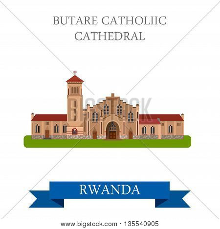 Butare Catholic Cathedral in Rwanda Flat web vector illustration