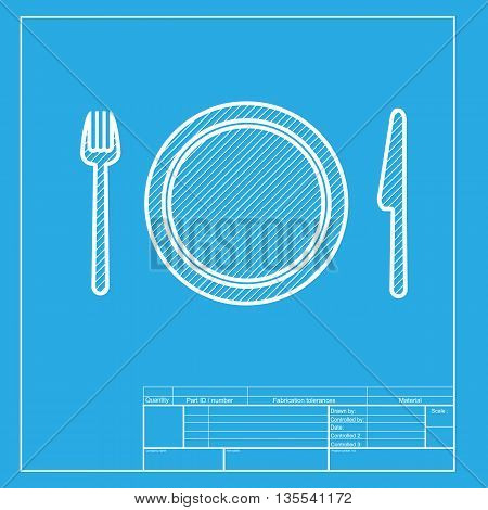 Fork, plate and knife. White section of icon on blueprint template.