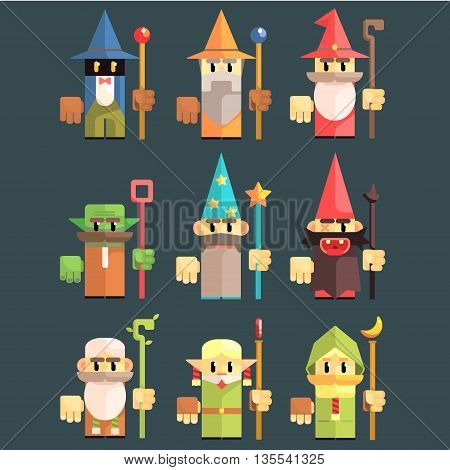 Flash Game Wizard Set Of Flat Primitive Stylized Graphic Design Vector Icons Isolated On Dark Background