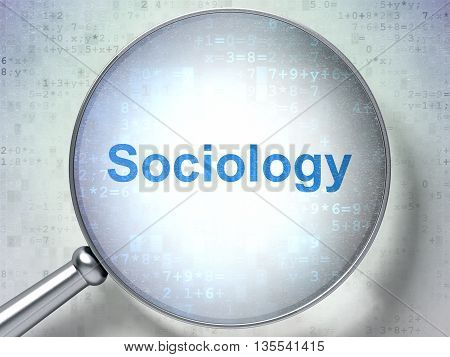 Studying concept: magnifying optical glass with words Sociology on digital background, 3D rendering