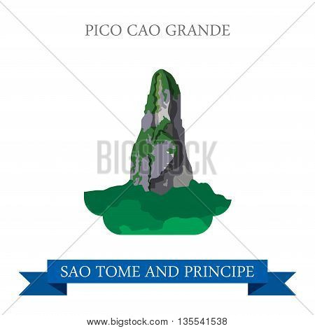 Pico CAO Grande Sao Tome and Principe Flat vector illustration