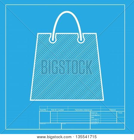 Shopping bag illustration. White section of icon on blueprint template.