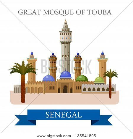 Great Mosque of Touba in Senegal. Flat vector illustration