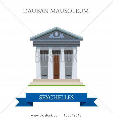 Dauban Mausoleum Seychelles Flat history web vector illustration