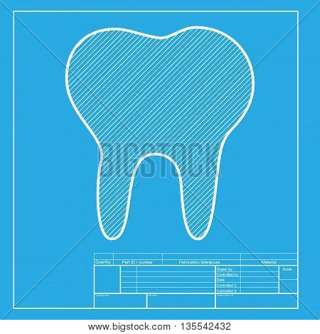 Tooth sign illustration. White section of icon on blueprint template.
