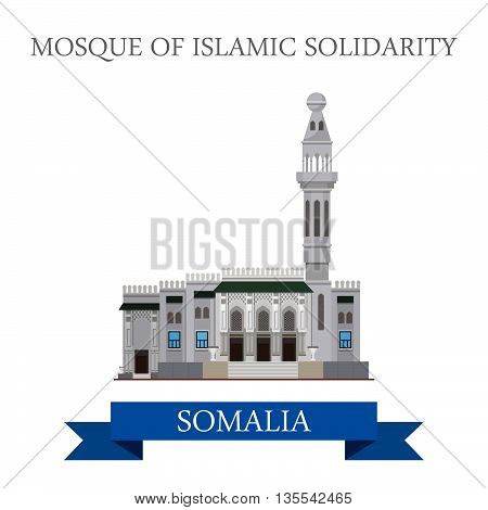 Mosque Islamic Solidarity Mogadishu Somalia Flat historic vector