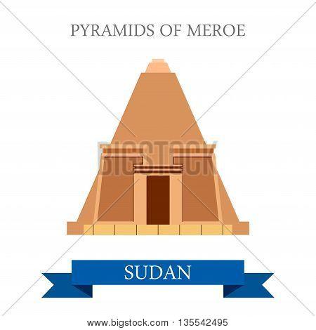 Pyramids Meroe Sudan Flat style historic web vector illustration