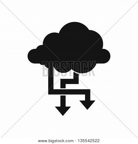 Cloud and arrows icon in simple style isolated on white background