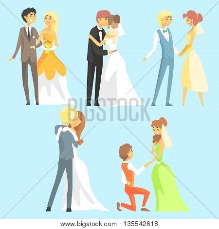 Brides And Grooms Couples Flat Cool Cartoon Style Vector Drawings Set