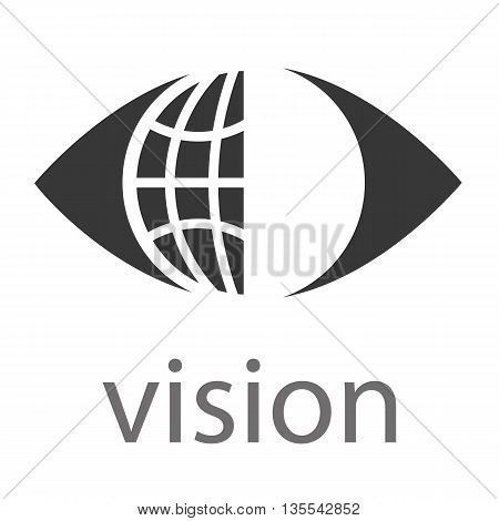 Logo for Business with a global or world symbol within an eye above the word Vision