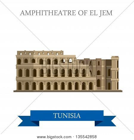 Amphitheatre of El Jem Tunisia Flat historic vector illustration