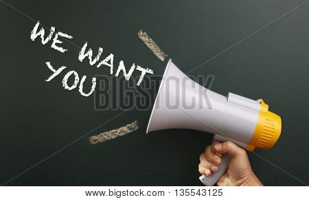 megaphone with text we want you