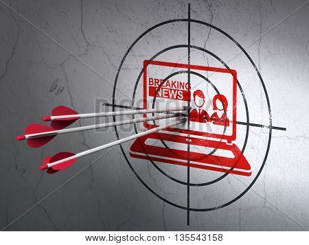 Success news concept: arrows hitting the center of Red Breaking News On Laptop target on wall background, 3D rendering